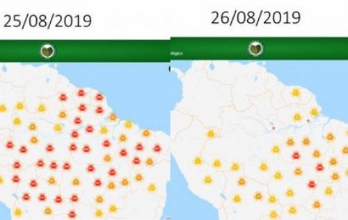 Imagem de satélite mostra redução das áreas atingidas por incêndios
